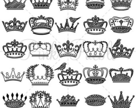 Doodle Crown Clipart Clip Art and Vectors, Vintage Crown Silhouettes - Commercial and Personal Use