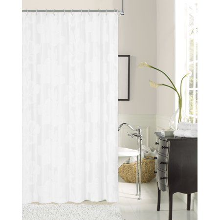 Ellen Tracy Floral Textured With Lurex Fabric Shower Curtain
