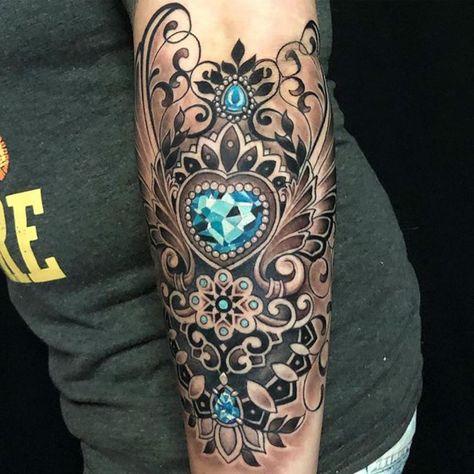 Brock Swenson in Best Color Infused Black & Gray Tattoos July 2019 Gem Tattoo, Filigree Tattoo, Jewel Tattoo, Mandala Tattoo, Tattoo Art, Lotus Mandala, Samoan Tattoo, Lotus Flower, Body Armor Tattoo