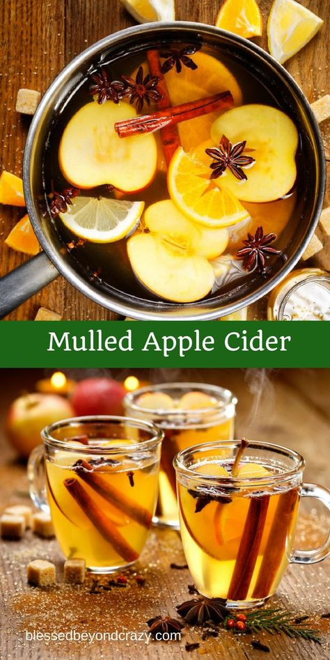 Mulled Apple Cider -  a wonderful hot beverage for a chilly day! #blessedbeyondcrazy #mulledcider