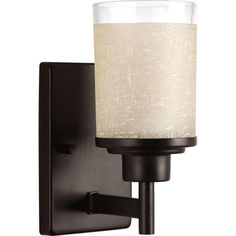 Progress Lighting Alexa Collection 1 Light Antique Bronze Bath Sconce With Etched Umber Linen Glass Shade P2959 20 Progress Lighting Bathroom Wall Sconces Vanity Lighting