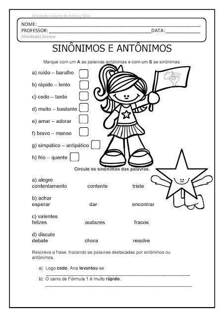 Sinonimos E Antonimos Em Pdf Atividades Pedagogica Suzano