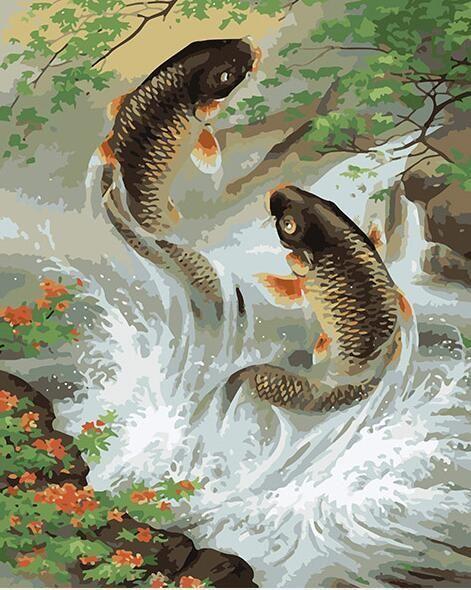 Modern Home Decor print Animals oil painting art Feng Shui Fish Koi Painting 116