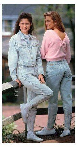 1990s Fashion Styles Trends History Pictures Double Denim 80s Women Doubledenim80swomen Women S F Womens Fashion Casual Outfits 1990s Fashion Fashion