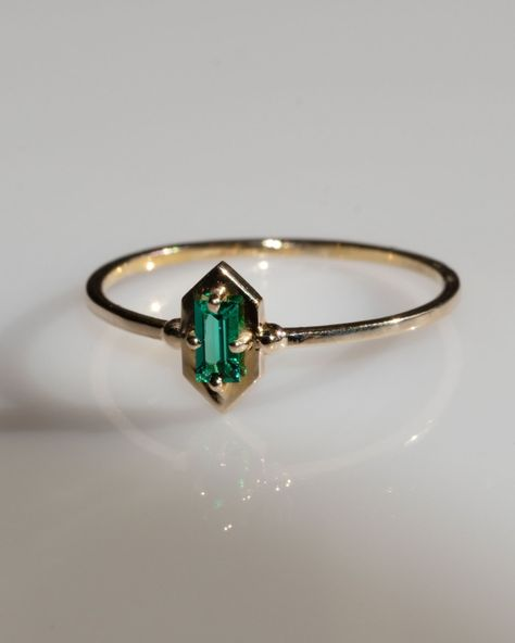 Lucky Elixir Yellow Gold Ring in Green Emerald Green Engagement Rings, Emerald Wedding Rings, Green Emerald Ring, Yellow Gold Rings, Green Rings, Bohemian Wedding Rings, Art Deco Emerald Ring, Unconventional Engagement Rings, Green Sapphire Engagement Ring