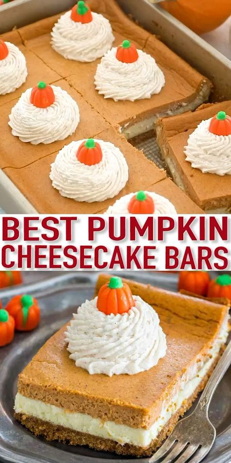 Pumpkin Cheesecake Bars are luxuriously creamy and rich, with lots of pumpkin flavor. Topped with a hefty amount of homemade cinnamon whipped cream. Desserts The Ultimate Pumpkin Cheesecake Bars [VIDEO] - Sweet and Savory Meals Holiday Desserts, Just Desserts, Delicious Desserts, Dessert Recipes, Health Desserts, Fall Deserts Recipes, Best Thanksgiving Desserts, Deep Fried Desserts, Thanksgiving Baking