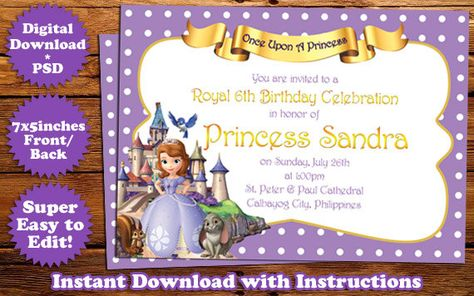 INSTANT DOWNLOAD Sofia the First Birthday Invitation Template #1 - first birthday invitations templates