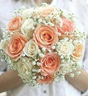 White Baby S Breath Gypsophila Cream Roses Peach Roses Round Wedding Bouquet Peach Wedding Flowers Wedding Flowers Peach Roses Vintage Bouquet Wedding