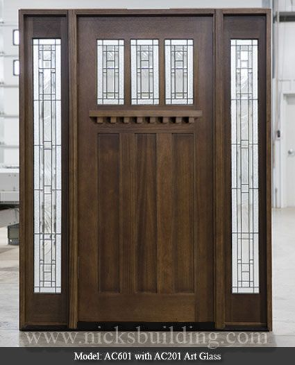 Arts And Craft Entrance Doors Wood Arts Craft Door With Decorative Glass Stained In A Walnut Stain Color Craftsman Style Doors Doors Glass Decor