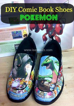 DIY Comic Book Shoes!  Pokemon Shoes!  #Crafts #DIY #Comic #Kids  #Pokemon