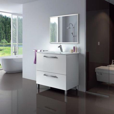 Urban Meuble Salle De Bain L 80 Cm Avec Miroir Blanc Brillant En