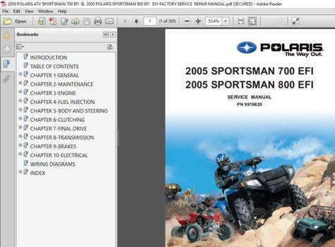 2005 Polaris Atv Sportsman 700 800 Efi Diy Factory Service Repair Manual Pdf Download In 2020 Repair Manuals Crankshaft Position Sensor Polaris Atv