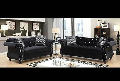 Transitional Living Room Furniture Black Fabric 2 Piece Sofa Loveseat Set Ircm Ebay Living Room Sets Cheap Living Room Sets Sofa And Loveseat Set