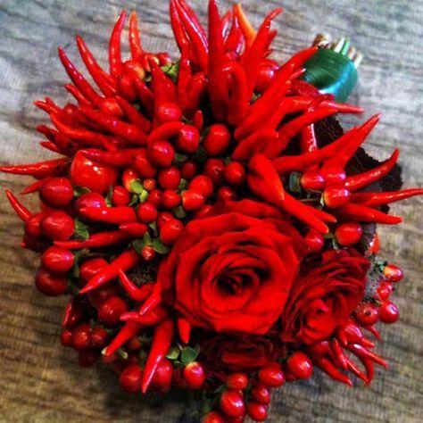 Mazzo Di Fiori Con Peperoncini.10 Bouquet Per La Sposa In Autunno Bouquet Decorazione Festa Di