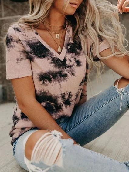 Women T Shirt V-neck Loose Tie-dye Short-sleeved T-shirt, Gray / XL