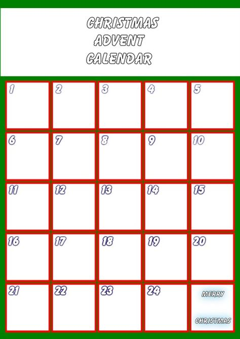 Blank Advent Calendar Click To Enlarge Christmas Printable Templates Template Printable Advent Calendars For Kids