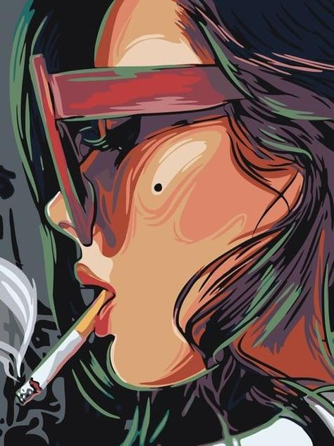 Smoking Woman - Paint By Number Kit - 40x50cm / No frame