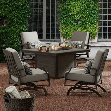Member S Mark Charleston Sunbrella Fire Chat Set Patio Lounge Furniture Outdoor Furniture Sets Conversation Set Patio