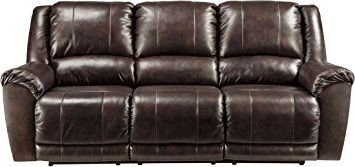Ashley Furniture Signature Design Yancy Reclining Sofa Power Recliner Contemporary Style Walnut Review