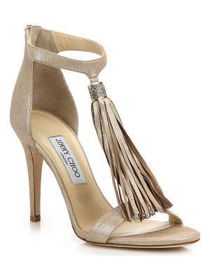 Jimmy Choo Viola shimmer suede tassel sandals | Embellished