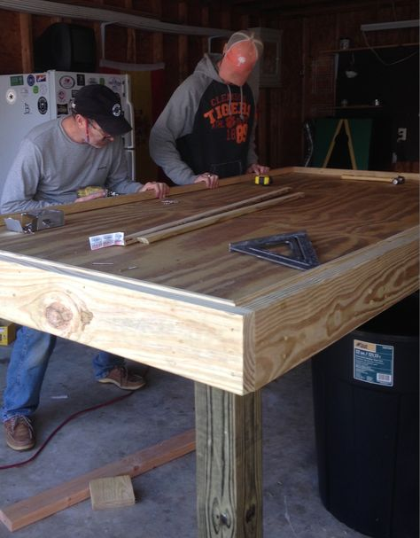 One of the bigger projects for our NYE party was building a table for shucking oysters. Most people just put a piece of plywood over some saw horses and cut a hole in the middle... well the Wilds a...