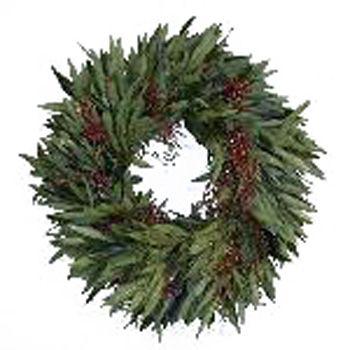 Bayleaf And Pepperberry Wreaths Fiftyflowers Com Wreaths Dried Wreath Leaf Wreath