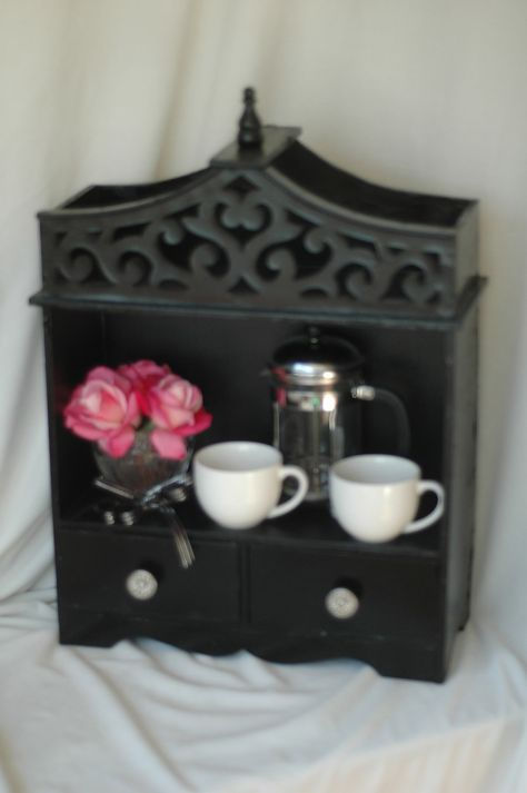Shabby Chic display unit black by theREDaccent on Etsy, $45.00