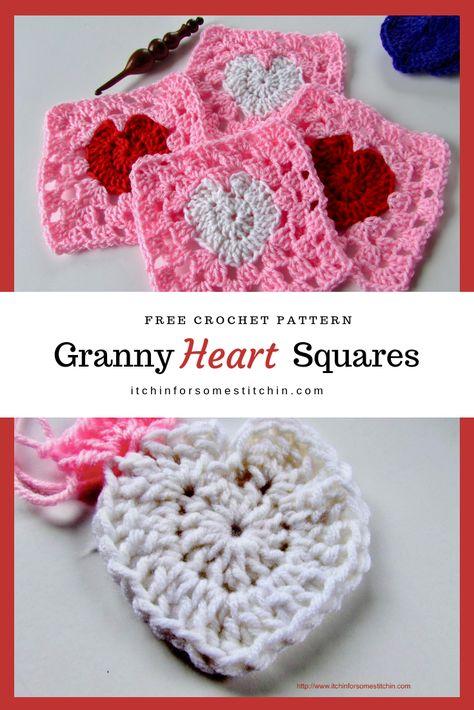 How To Crochet A Granny Heart Square Haken Breien Haken En Handwerk