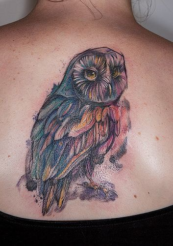 Idees De Hibou Tatouages Aquarelle Owl Watercolor Tattoos