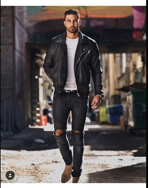 leather jacket biker distressed jeans skinny is part of Mens outfits -