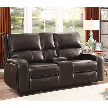 Outstanding Sawyer Leather Power Reclining Loveseat With Console And Andrewgaddart Wooden Chair Designs For Living Room Andrewgaddartcom