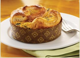 Recipe for Panera's Egg souffle!  Just baked them and they're friggin delicious!  Basically it's...   1/2 cup whatever goodies you want like spinach, bacon, bell peppers, etc.  4 eggs,  4 Tb milk or heavy cream,  almost 1 cup of cheeses like cheddar, gruyere, asiago, and parmesan.  line some tins or cupcake pan with puff pastry and add your filling!