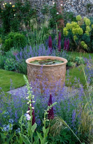 Richmond House, Clare, Suffolk ............ Romantic walled garden with emphasis on scented plants. Pleached-tree-framed steps lead to formal 'new perennial' parterre; Med. terrace by swimming pool; informal garden area with species roses, peonies and spring bulbs; mini meadow; vegetable/cutting garden, chickens, trained fruit trees, greenhouse; tulips; dahlias; hellebore/fern path. Over 40 small-flowered clematis and 50 roses. Garden open to public in May under National Gardens Sc