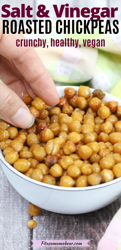 Crunchy, tangy, and delicious! Healthy roasted chickpeas make a tasty vegan snack idea that can be used as-is or on top of salads and Buddha Bowls. Only 4 ingredients make up these salt and vinegar chickpeas making them simple to whip up #chickpeas #chickpearecipe #roastedchickpeas #vegansnack #hikingsnacks