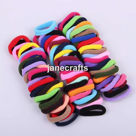 50 pcs  Lot Kids Girls Assorted Elastic Rubber Hair Rope Band Ponytail HolderTTE