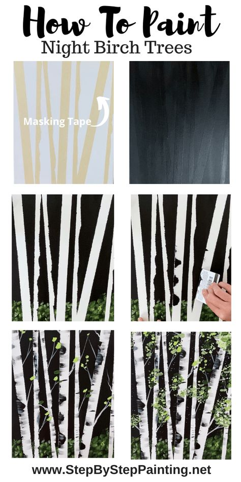 How To Paint Birch Trees – Easy Step By Step Painting Tutorial - Painting Techniques Canvas Painting Tutorials, Diy Canvas Art, Painting Lessons, Painting Techniques, Diy Painting, Art Lessons, Painting Trees On Canvas, Tree Painting Easy, Cartoon Painting