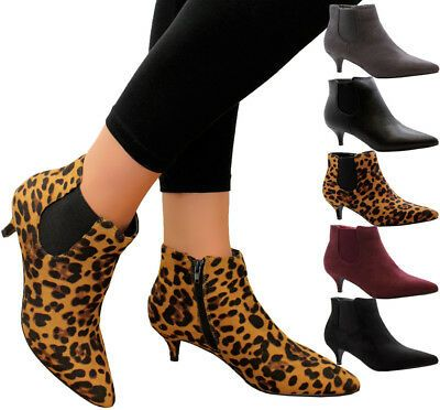 Ladies Womens Mid Kitten Heels Court Shoes Office Ankle Chelsea Boots Shoes Size Ebay In 2020 Kitten Heel Ankle Boots Ankle Boots Uk Black Kitten Heels