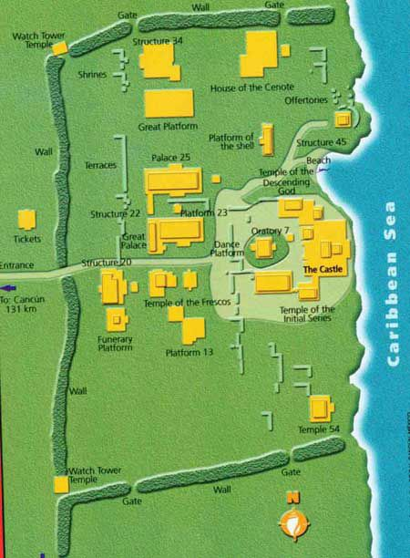 map of tulum ruins   Cancun  Pinterest  Tulum ruins Cancun
