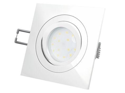 QF-2 LED-Einbauleuchte weiß, flach und schwenkbar incl. LED-Modul 230V, 5W, warm weiß 2700K – Bild 1