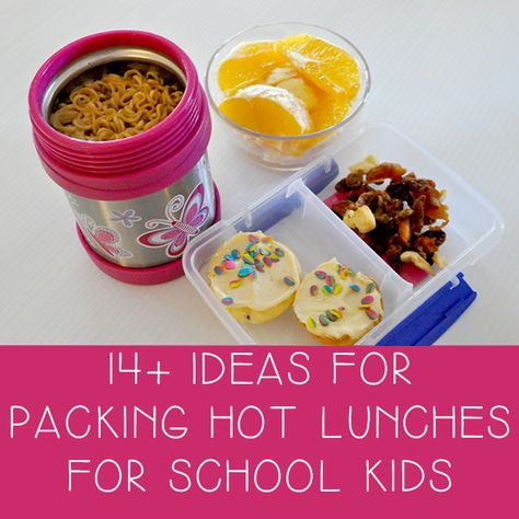 14+ ideas for packing hot lunches for school kids. Use thermos instead of waiting in line for a microwave. I should do this for myself!