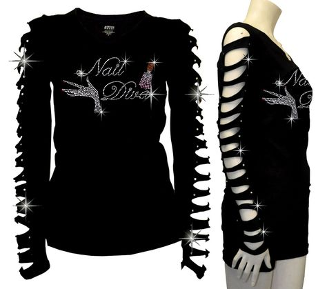 Junior Plus Nail Diva,Artist,Salon Wear Rhinestone,Ripped Slit Cut Out T-Shirt