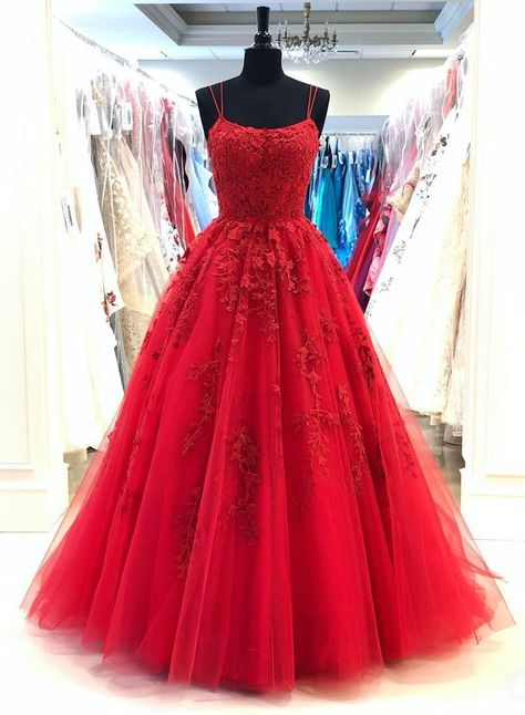 2021 A Line Red Scoop Tulle With Appliques Long Prom Dress - Red / US4