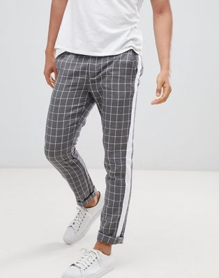 c7fb5bf0 DESIGN Slim Pants In Gray Check With Side Stripe in 2019 | trousers ...