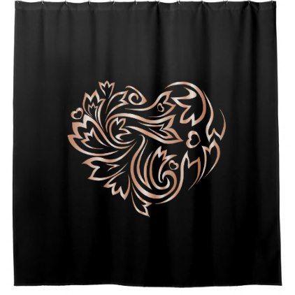 Flower Heart Rose Gold Black Shower Curtain Zazzle Com Black