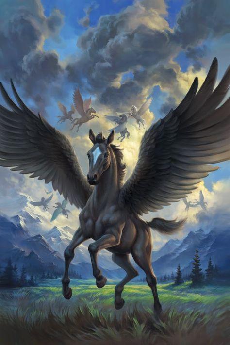 f Pegasus farmland forest hills mountains Fantasy, Unicorn Fantasy, Mystical Animals, Fantasy Artwork, Mythical Animal, Fantasy Art, Creature Art, Fantasy Creatures, Fantasy Horses