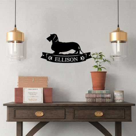 Pretty Dachshund Banner Custom Plaque - Steel Sign. Multi colors & sizes available. Short, long, wire hair versions! - Copper / 15