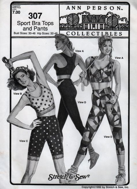 Stretch and Sew 307 Misses Racer Back Sports Bra Tops and Spandex Pants sewing pattern by mbchills,