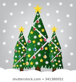 Christmas Tree With Colorful Ornaments And Gold Star And Falling Snow Vector Illustration In 2020 Christmas Tree Design Tree Designs Christmas Tree