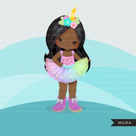 Rainbow Unicorn Tutu Clipart. Girl with cute tutu modern | Etsy