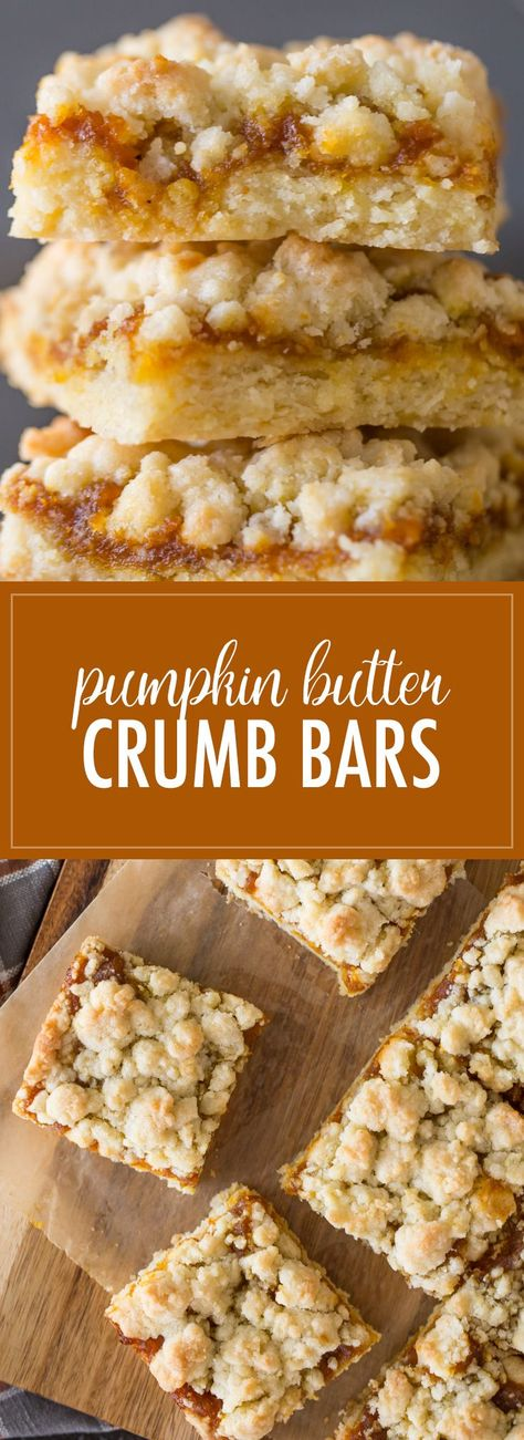 These Pumpkin Butter Crumb Bars have a soft buttery crust, a layer of pumpkin butter, and more buttery crumbles on top. They are quick and easy too! #crumbbars #pumpkinbutter #dessert